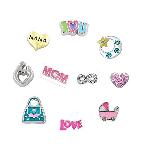 I Love Mom Nana Moon Back Baby Carriage Handbag Heart.10Pcs Floating Lockets Charms for DIY Necklace Pendant & Bracelet ()