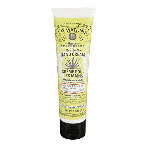 J.R. Watkins Natural Shea Butter Hand Cream, Aloe & Green Tea, 3.3