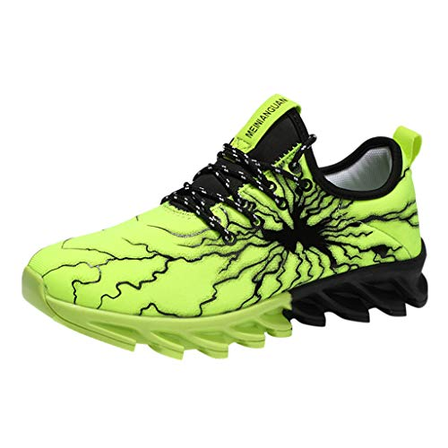 ONLY TOP Mens Running Shoes Fashion Graffiti Sneakers Tennis Gym Shoes Walking Training Lightweight Sport Shoes Green ()