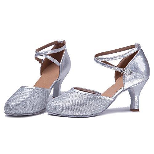 7 Tanzschuhe Latin Damen SWDZM Satin Silber Standard Schuhe ModellDWX Ballsaal Dance Ausgestelltes Fvq6qnEf