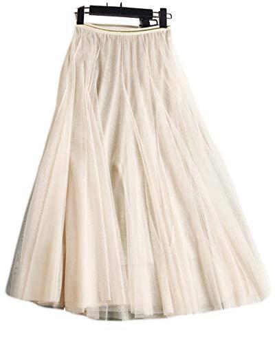 (Ninmon Shares Women Summer Flared Elastic Waist Lace Mesh A-line Maxi Skirt)
