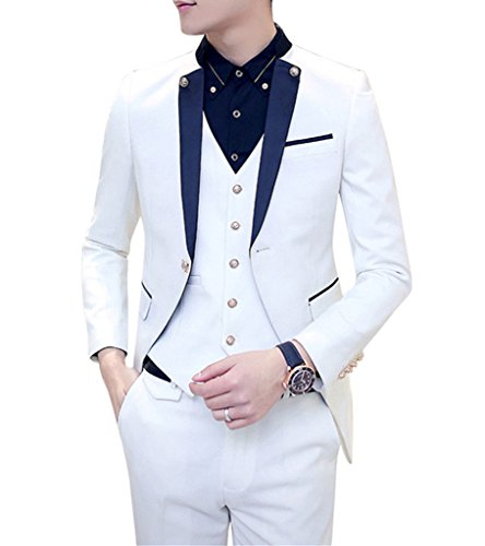 MOGU Mens Tail Tuxedo 3 Piece Suit US Size 32 White by MOGU (Image #2)