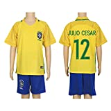 2016 Copa #12 Julio Cesar Yellow Home Kids Soccer Jersey & Short Kit Set