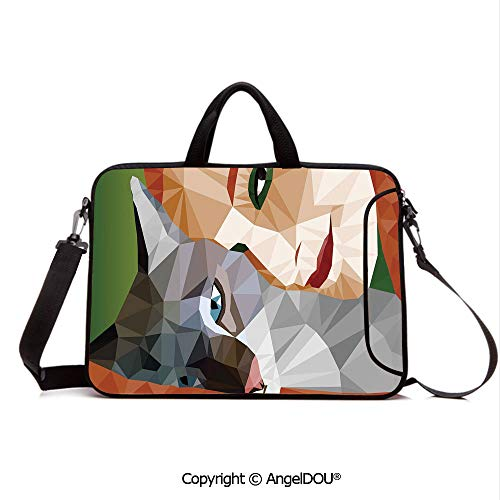 AngelDOU Laptop Sleeve Notebook Bag Case Messenger Shoulder Laptop Bag Geometric Mosaic Little Cute Cat and Owner Women Smiling Sleeping Couple Image Compatible with MacBook HP Dell Lenovo Multicolo