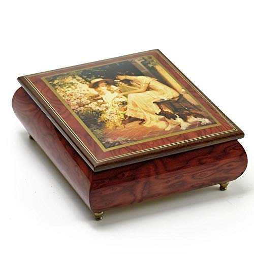 Red Wine Ercolano 18 Note Musical Jewelry Box Title Morning Rose - Over 400 Song Choices - Home on The Range (Stove Wood Elm)