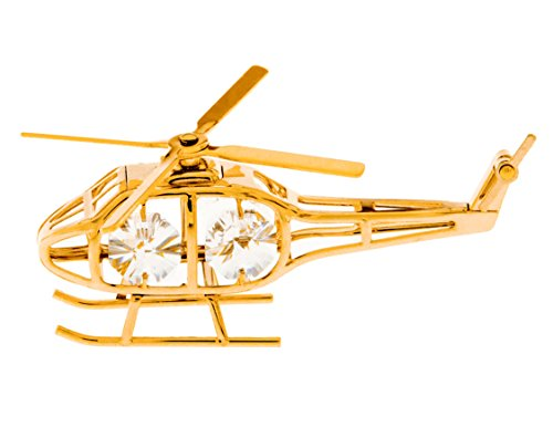 Helicopter 24k Gold Plated Figurine with Swarovski Crystals
