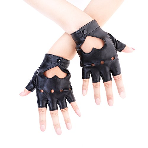 JISEN Sexy Women Heart Cutout Punk Half Finger PU Leather Performance Gloves Black, One Size