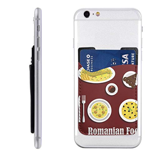 Dinner Icon - Romanian Dinner with Dessert Flat Icon Phone Card Holder PU Leather Wallet Pocket Credit Card ID Case Pouch 3M Adhesive Sticker On Phone Samsung Galaxy Android Smartphones(2.43.5 in)