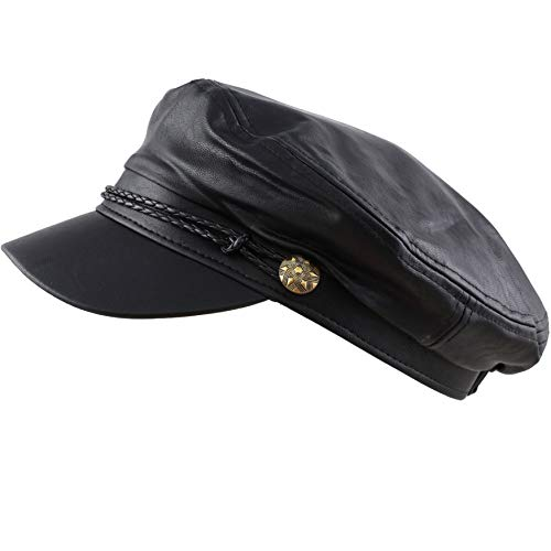 THE HAT DEPOT Winter Unisex Wool Faux Leather Greek Fisherman's Hat (ONE Size, Black Faux Leather) ()