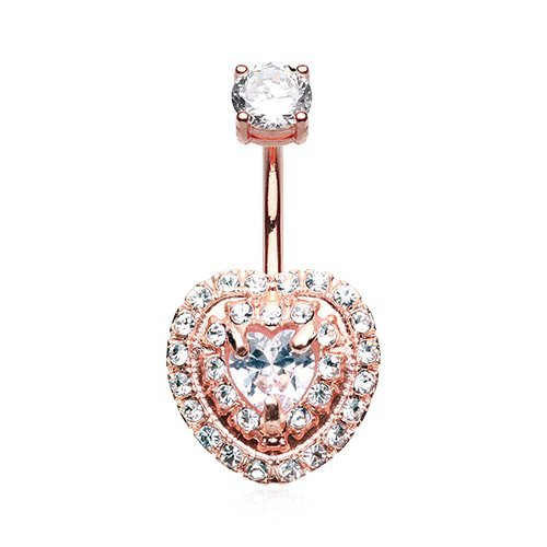 Heart Rose Belly Button Ring - 4