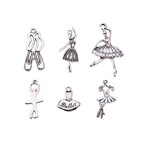 Pandahall 30PCS (6pcs/Set, 5 Sets) Ballet Theme Antique Silver Alloy Pendants ()