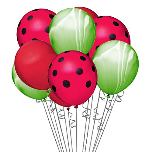 envizins 15 Pcs Red, Green Agate, Red Polka Dot, latex Watermelon Themed 12 Inch Latex Party Balloons with 32' White Roll Curling Ribbon