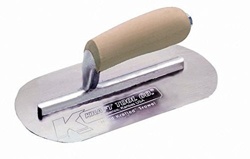 (Kraft Tool CF724 Mini Pool Trowel with Straight Wood Handle, 7-1/2 x 4-Inch)