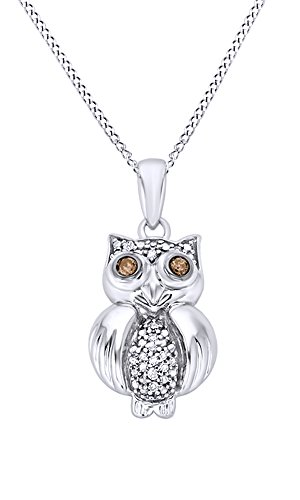 AFFY Mothers Day Jewelry Gifts White & Brown Natural Diamond Accents Owl Pendant Necklace in 14k White Gold Over Sterling Silver
