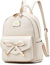 Girls Bowknot Cute Leather Backpack Mini Backpack Purse...