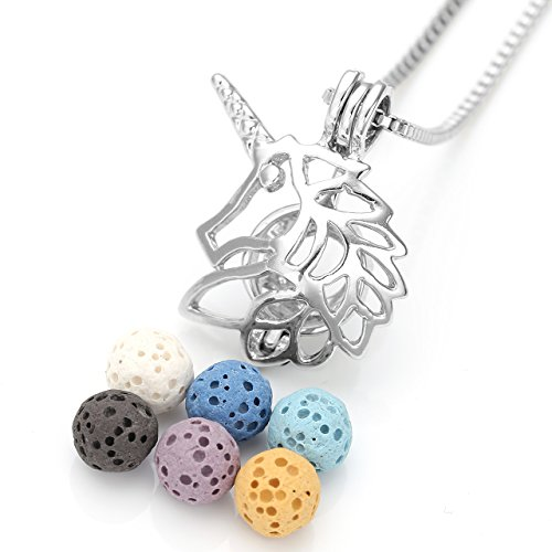 Top Plaza Natural Lava Rock Stone Aromatherapy Essential Oil Diffuser Necklace Silver Hollow Locket Pendant With 6 Dyed Lava - Rock Plaza