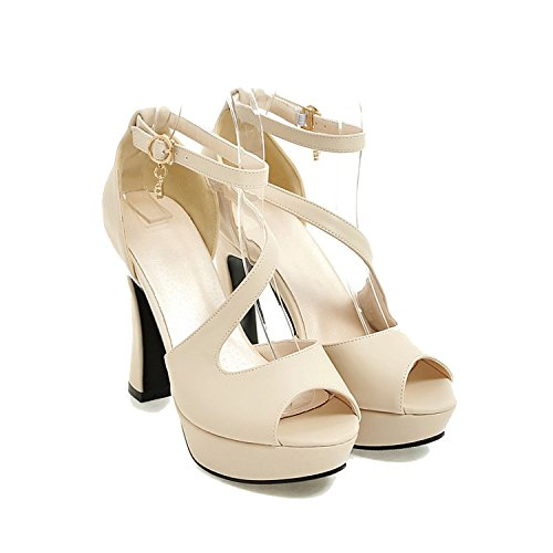 Sky-Pegasus 2018 New Summer high Heel 11cm Women's Banquet Casual Platform Peep Toe Ladies Sandal Size 32 33-43,Beige,6.5