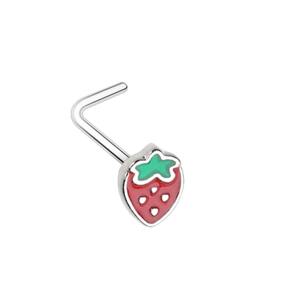 Amazon.com: Leafy Fresa L-Shape Nariz Anillo (se vende por ...