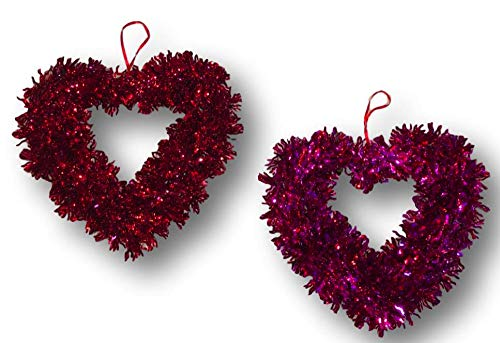 (Plum Nellie's Treasures Heart Tinsel Wreaths - Valentine's Tinsel Heart Shaped Hanging Wreath Set of 2-10 inches (1 Red Heart & 1 Pink Heart))