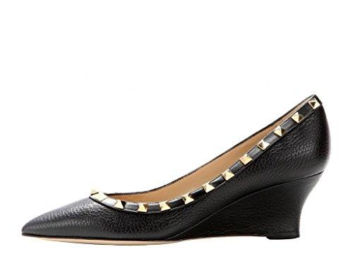 Arc-en-Ciel tachonado zapatos en punta del dedo del pie zapatos de cuña de cuero de las mujeres Negro