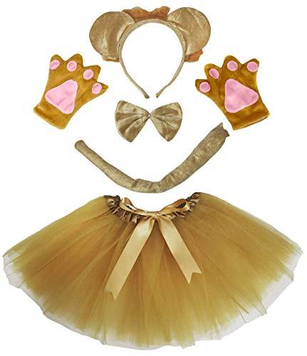 Petitebella 3D Headband Bowtie Tail Gloves Tutu Unisex Children 5pc Girl Costume (3D Khaki Lion)]()