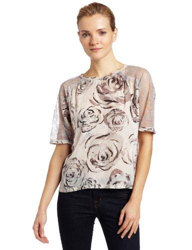 UPC 725942532449, BCBGMAXAZRIA Women's Lourie Rose-Print Top,Lt. Pearl Grey Combo,X-Small