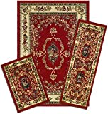 Capri Collection 3-Piece Area Rug Set: Area Rug with Matching Runner and Mat- Savonnerie Red