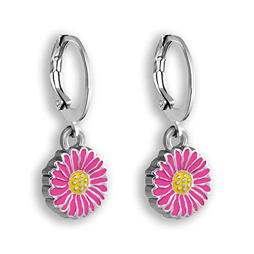 Painted Earrings Flower - Daisy Flower Earrings For Women - Hoop Earrings Set With Hand Painted Flower Earring Charms - Comfortable Hoop Closure, Daisy Earrings For Women Mothers Day Flower Gifts Of Small Hoop Earrings