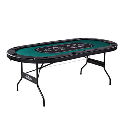 Barrington Texas Holdem Poker Table for 10 Players with Padded Rails and Cup Holders – Green