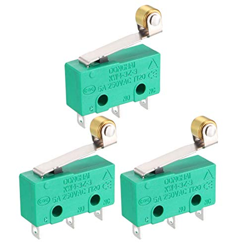 uxcell 3PCS KW4-3Z-3 Micro Limit Switch SPDT NO NC 3 Terminals Momentary Hinge Roller Lever Green ()