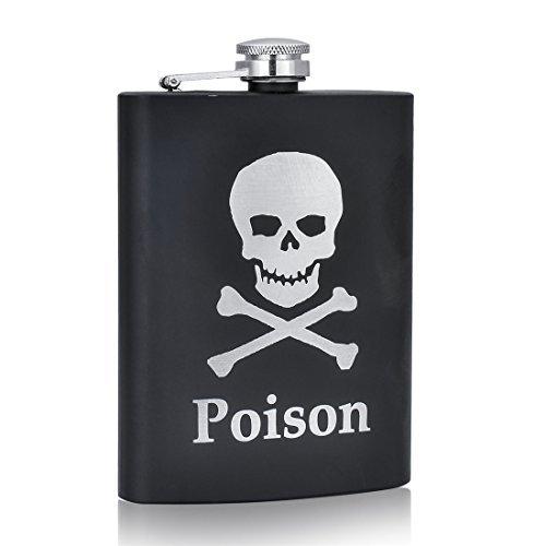 Shenglin Poison Skull Printed Wine Hip Flask 8 oz