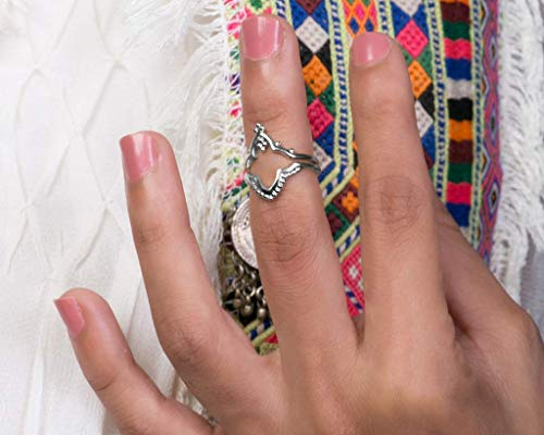 Boho Midi Knuckle Rings for Women, Sterling Silver Unique Indian Style Stacking Rings, Set of 2, Adjustable Size US 3-6, Handmade Statement Jewelry