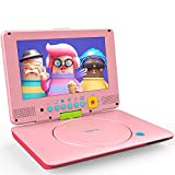 COOAU Portable DVD Player Upgraded 12' with HD Swivel Screen, Support All Region & Full DVD Format Discs, 1080P Video Files. Front Control Button and IR Signal, Battery Indicator, Coral Pink