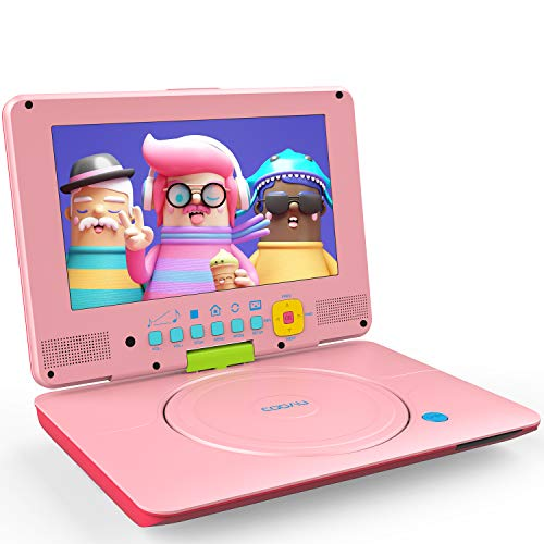 COOAU Portable DVD Player Upgraded 12 with HD Swivel Screen, Support All Region & Full DVD Format Discs, 1080P Video Files. Front Control Button and IR Signal, Battery Indicator, Coral Pink