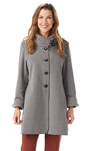 Janska Audrey - Women's Warm Fleece Button-Up Swing Coat with High Collar and Large Pockets (Small, Gray)