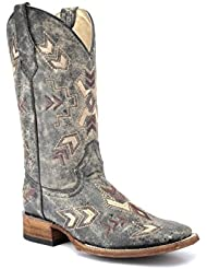 Corral Circle G Boot Womens 12-inch Distressed Leather Arrowhead Wide Square Toe Black/Bone Western Boot