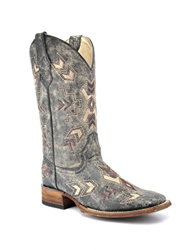 Distressed Western Boot - Corral Circle G Women's Distressed Arrowhead Cowgirl Boot Square Toe Black 8 M US