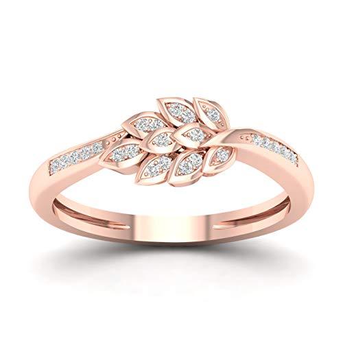 - 10k Rose Gold Diamond leaf Engagement Ring Size 9 (0.08ct/ I2,H-I)