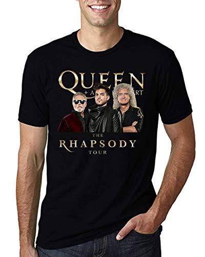 Queen and Adam Lambert Rhapsody Concert Tour 2019 T-Shirt Black Cotton Men Shirt (Black, - T-shirt Concert Tour