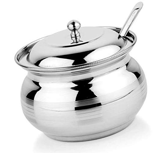 - Rastogi Handicrafts Stainless Steel Storage Pot for Oil Ghee , salt , tea, coffee, spices , dry fruits, sugar (1)