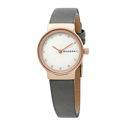 Skagen Women's Freja Quartz Stainless Steel and Leather Casual Watch, Color: Rose Gold-Tone, Grey (Model: SKW2669)