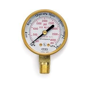 Hobart 770126 Oxy/Acet,Gauge High Pressure,Psi/Kpa,Oxygen