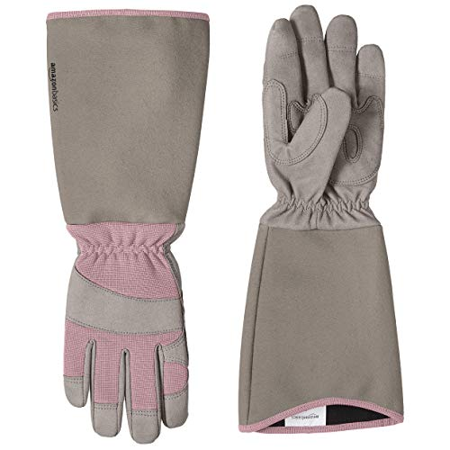 AmazonBasics Rose Pruning Thorn Proof Gardening Gloves with Forearm Protection, Pink, S