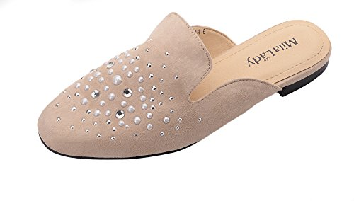 Slip Womens Heeled Mila 3 Shoes On Loafer Low Fashion Casual Sandals Nude Slides Flat Lady Mules HBH0qnaI