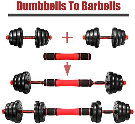 Adjustable Weights Dumbbells Set,Adjustable Dumbbell Free Weights Dumbbells Set for Men and Women with Connecting Rod Can Be Used As Barbell for Home Gym Work Out Training