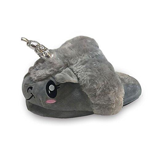 Rainbow Fox Fantasy Unicorn Soft Plush Slippers Slip On Adult Compatible With European Size: 37-42 Grau