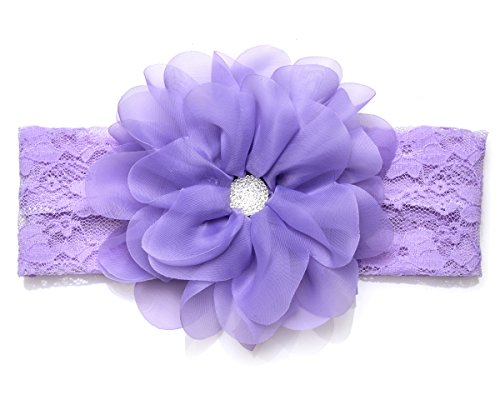 Organza Bow Headband - DressForLess Lovely Large Organza Flower with Stretch Lace Headband LILAC
