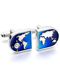 Silver Blue 2 PCS Rhodium Plated Cufflinks World Map Shirt Wedding Business