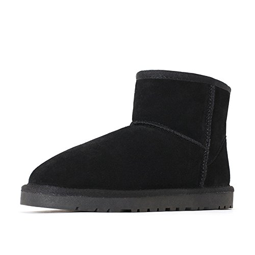 One male sheep fur snow boots warm in winter and short tube thick cotton velvet,44 black by ZRLsly