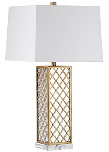Decorator's Lighting 15421 Quatrefoil Square with Mirror Table Lamp H, 30'' H, Antique Brass by Decorator's Lighting